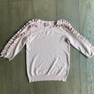 Philosophy blush pink ruffle sleeve sweater